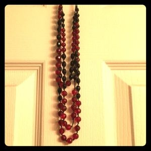 Red & Black Bead Necklace